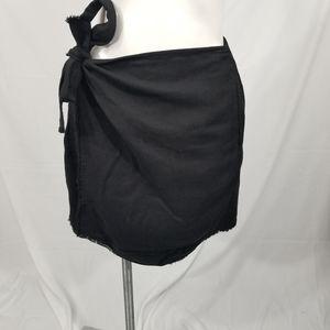 Cloth & Stone Faux Wrap Raw Hem Skirt Black XS